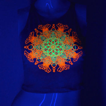 Nude Fitted Crop Top - Glow in the Dark and Fluorescent Mandala Design - Sacred Geometry - Psychedelic Yoga Wear