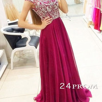 A-line Round Neck Chiffon Sequin Burgundy Long Prom Dresses, Formal Dresses