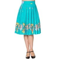 60's Retro Mermaids Vintage Mermaid Print Pleated Print midi Turquoise Blue skirt