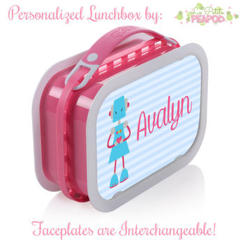 Robot Lunchbox - Personalized Lunchbox with Interchangeable Faceplates - Double-Sided Sweet Girly Robot Lunchbox