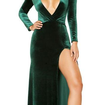 Sexy Georgia Plunge Long Sleeve Velvet Maxi Dress with High Slit