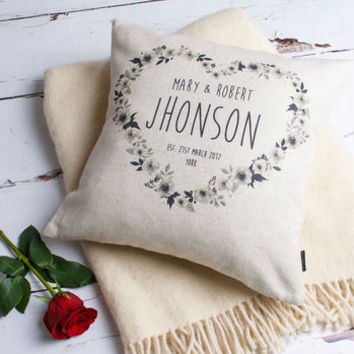 Flowery Personalised Couple Cushion Cover