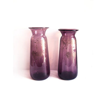 Pair of Purple Vases Etched with Acid, Art Nouveau Vase, Mismatched Violet Vase