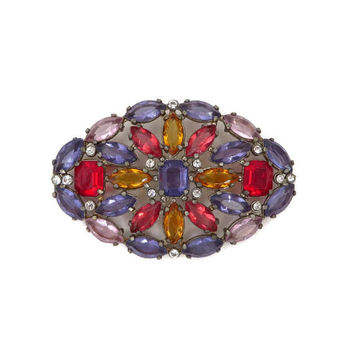 Large Oval Rhinestone Brooch, Vintage Multicolor Rhinestone Pin, Mid-Century Costume Jewelry