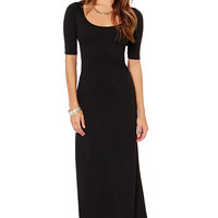 Black Scoop Collar Hollow Back Dress