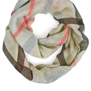 Ivory & Red Plaid Infinity Scarf