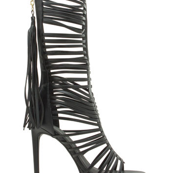What A Tassel Tall Laddered Strap Heels GoJane.com