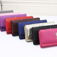 ONETOW Yves Saint Laurent YSL' Women Fashion Crocodile Pattern Long Section Purse Three Fold Multi-card Bit Wallet Handbag