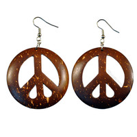 Peace Coconut Shell Earrings