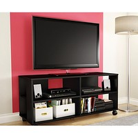 Black TV Stand Storage Cart in Black Finish - Holds TV up to 48-inch