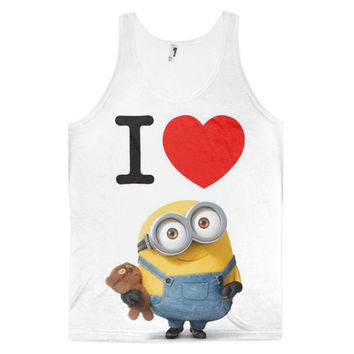 I ❤ Minions Despicable Me Love Dye Sublimation All Over Print 3D Full Print Cotton Polyester Unisex Novelty Blue Yellow Red Brown & White Tank Top