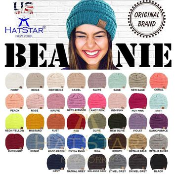 New Womens Knit Slouchy Beanie  Oversized Thick Cap Hat Unisex Slouch Color CC
