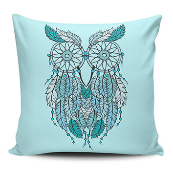Dream Catcher Owl Blue Spiritual Pillow Covers