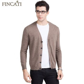 Men Cardigan Sweater 2017 High Quality Mink Cashmere Fluffy Spring Autumn V-Neck Soft Causal Knitwear Outwear Coat