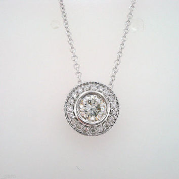 14K White Gold Diamond Pendant Necklace 0.41ct  Bezel And Micro Pave Set Hand Made