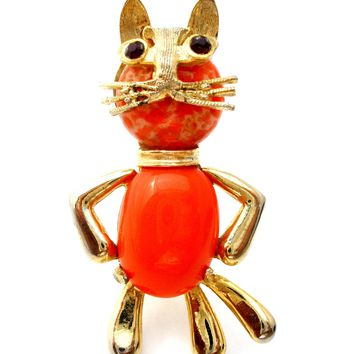 Weiss Jelly Belly Cat Brooch Vintage
