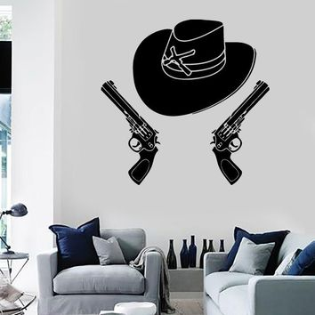 Wall Stickers Vinyl Decal Stetson Cowboy Hat Revolver Gun Texas (ig839)