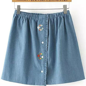 Blue Elastic Waist Floral Embroidered Denim Skirt with Ruffle Detail