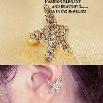 sea star rhinestone earrings/Ear Ring/Stud