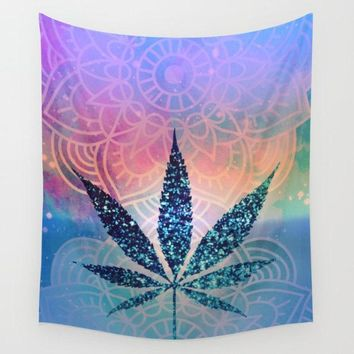 Pot Leaf Wall Tapestry Rainbow Tye Dye Blue Yoga Meditation Mandala Wall Hanging