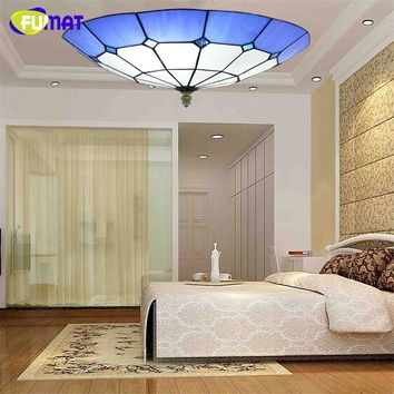 Tiffany Ceiling Lamp Stained Glass LED Blue Shade