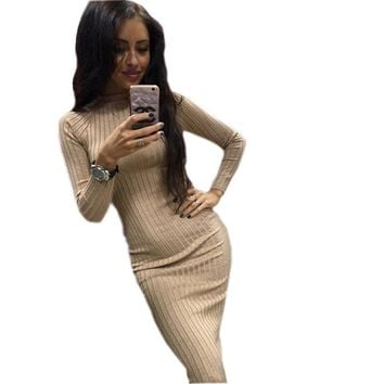 2018 Spring and Winter Knitted Slim Bodycon Dress