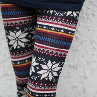 Knitted Nordic Snowflake Reindeer Crystar Xmas Deer Leggings Tights Pants 22-41""