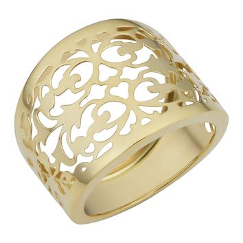 14k Yellow Gold Filigree Cigar Band Ring