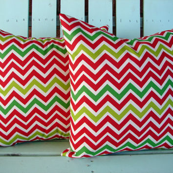 "Set of 2 18"" X 18"" red,green chevron print- Christmas- Holiday- decorative pillow cover-gifts under 40-throw pillow"