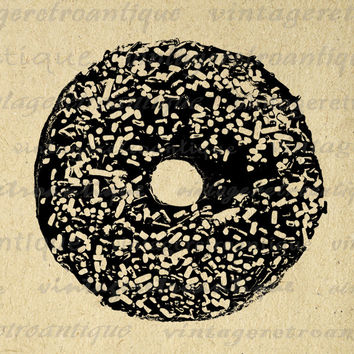Donut with Sprinkles Printable Image Graphic Illustration Download Digital Vintage Clip Art for Transfers Printing etc HQ 300dpi No.1988