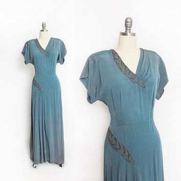 Vintage 1940s Dress - Blue Green Rayon Beaded All Length Gown 40s - Large L