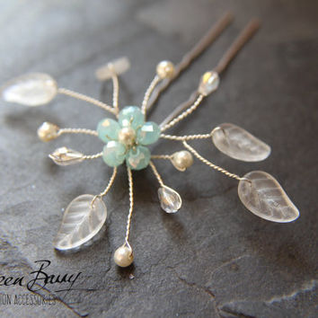 R140 - Bridal hair pin - Crystal flower - Aqua mint turquoise blue, other colors/finishes on request