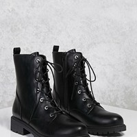 Faux Leather Combat Boots
