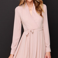 Tie, Tie Again Mauve Long Sleeve Wrap Dress