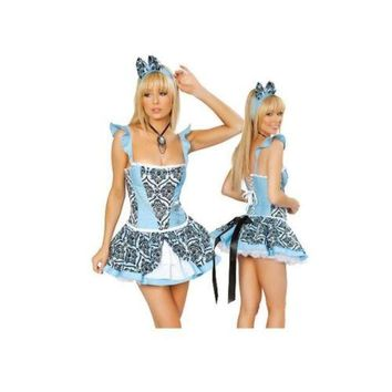 Sexy Uniform Halloween Dress-up Garment Cosplay Blue Catwoman