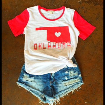 Oklahoma Love Retro cap sleeve tee