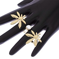 Goldtone Marijuana Leaf and Clear Stone Double Finger Ring