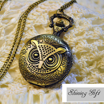 Owl Pocket Watch Steampunk Necklace Antique Brass by Shininggift