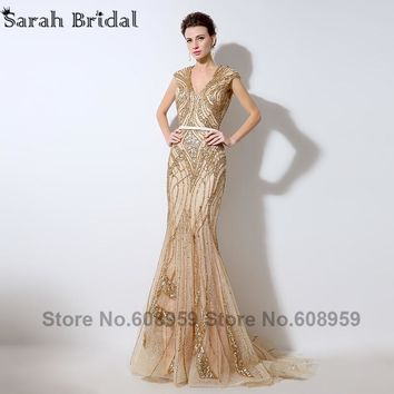 2017 Luxury Gold Sequins Illusion Back Evening Dresses Sexy V-neck Beaded Lace Mermaid Prom Dress Dubai Rode De Soiree LX053