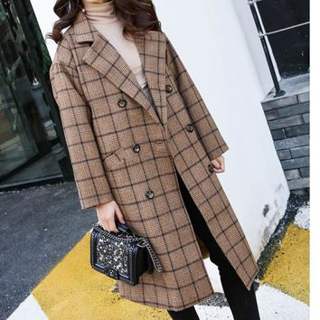 2017 winter coat women casual plaid coat long sleeve womens clothing basic coats lapel long coat oversize style
