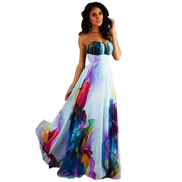 Women Summer Beach Flower Print Long Maxi Dress 2016 Sexy Off The Shoulder Strapless Floor Length Dress Plus Size Sundress ROBE
