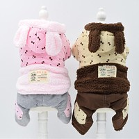 Small dog clothes warm pet clothing for fall and winter season clothes pet clothes four legs thick cotton clothes jumpsuits dogs