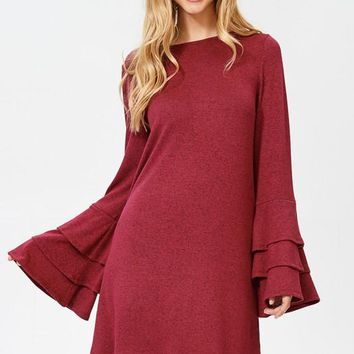 Trumpet Sleeve Dress - Burgundy