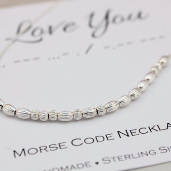 Morse Code necklace I Love You necklace Sterling Silver dainty minimalist jewelry unique Birthday Christmas gift for her Secret message