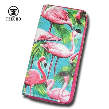 TZECHO Zipper Around Womens Wallets Leather Prints Animal Flamingo Long Girl's Purses Coin Pocket Credit Card Holder Clutch Bag