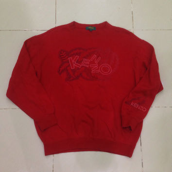 vintage kenzo golf embroidery floral flower embroidery stitch design sweatshirt / sweater / spellout / crewneck red colour