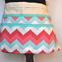 Chevron Vendor Apron,  Women's Utility Apron, Pastel Chevron Apron, Teacher apron, Spring Apron, Spring line.  Ready to ship.