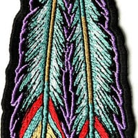Tribal Feathers Iron on Embroidered Native Patch