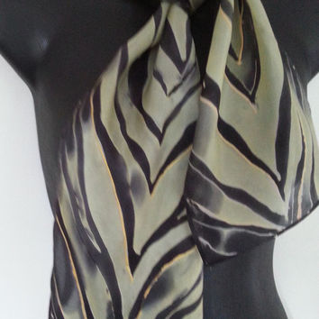 ZEBRA stripes Silk Scarf, Handpainted, New Zealand silk scarf, light to post, black and cream, gold, handmade gift, 18cm x 114cm paj silk,