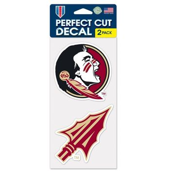 "FLORIDA STATE SEMINOLES 4""X4"" DIE CUT DECAL 2-PACK CAR HOME NEW WINCRAFT"